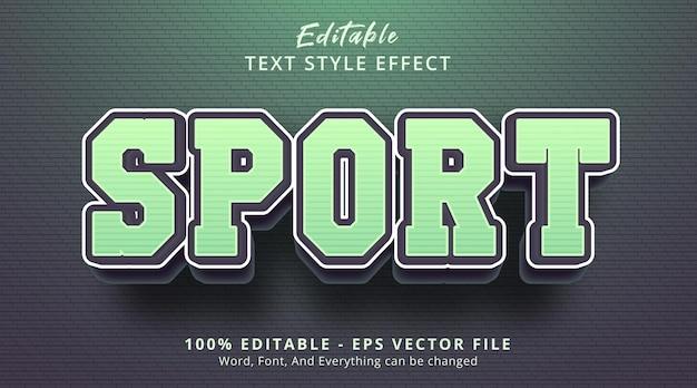 Efeito de texto editável, texto de esporte no estilo de combinação de cor verde