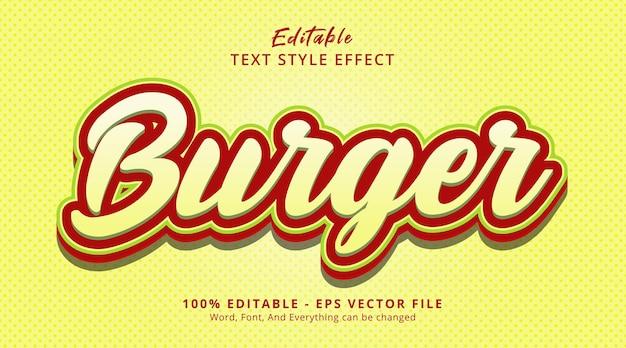 Efeito de texto editável, texto de hambúrguer em estilo de combinação multicolor