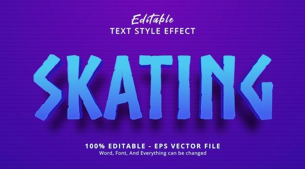 Efeito de texto editável, texto de patinação no estilo de cor azul e roxo