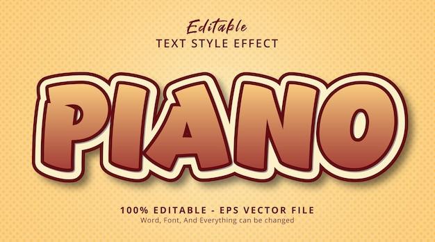 Efeito de texto editável, texto de piano em efeito de estilo de cor suave