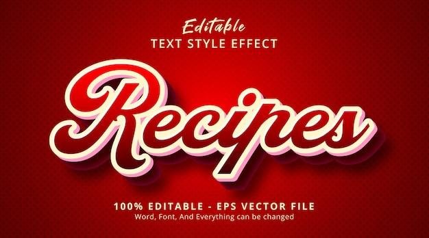 Efeito de texto editável, texto de receitas em estilo de combinação de cor vermelha