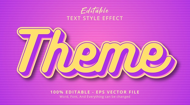 Efeito de texto editável, texto de tema em estilo de combinação de cores em camadas