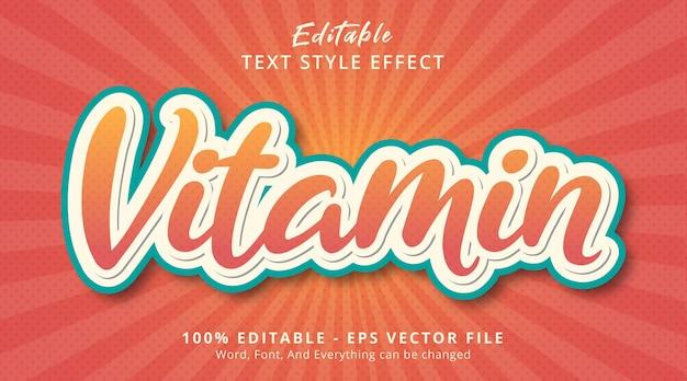 Efeito de texto editável, texto de vitamina no efeito de estilo de cor de frutas frescas