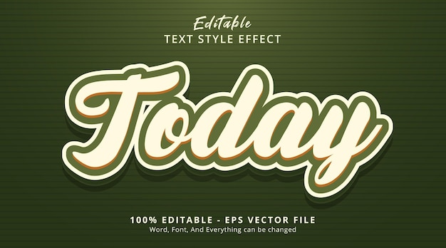 Efeito de texto editável, texto hoje em estilo de combinação multicolor