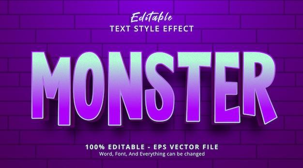 Efeito de texto editável, texto monstro em efeito de estilo de cor neon