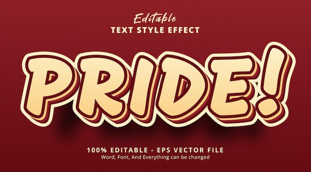 Efeito de texto editável, texto orgulho com estilo de combinação em camadas
