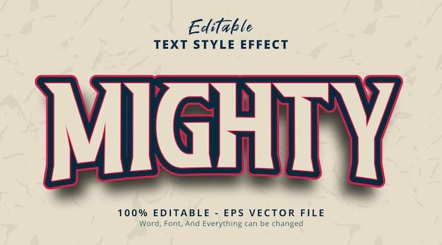 Efeito de texto editável, texto poderoso em efeito de estilo de jogo de título