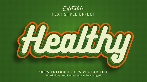 Efeito de texto editável, texto saudável no estilo de combinação de cor verde