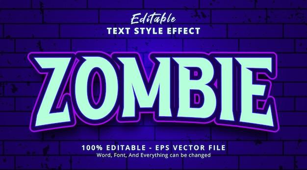 Efeito de texto editável, texto zumbi em estilo de jogo de título leve
