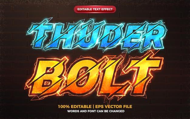 Efeito de texto editável thunder bolt azul laranja elétrico bolt