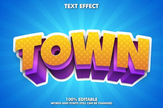 Efeito de texto editável, tipografia moderna dos desenhos animados em 3d