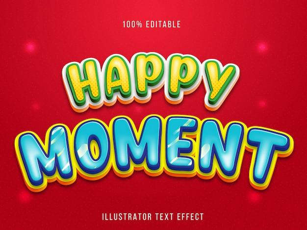 Efeito de texto editável - título do momento feliz estilo cartoon