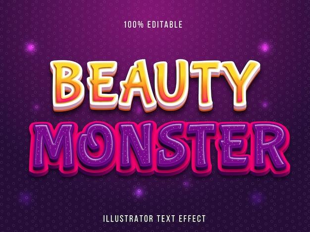 Efeito de texto editável - título do monstro de beleza