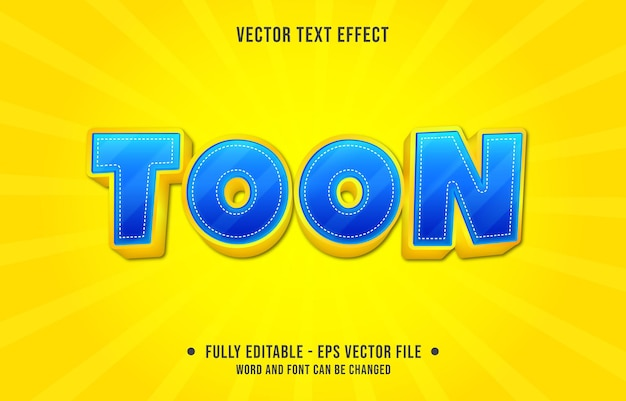 Efeito de texto editável - toon azul e estilo de cor gradiente amarelo