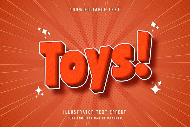 Efeito de texto editável toys3d gradação laranja vermelho estilo cômico moderno