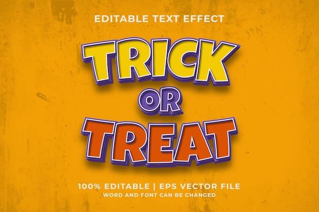 Efeito de texto editável trick or treat estilo de modelo 3d premium vector