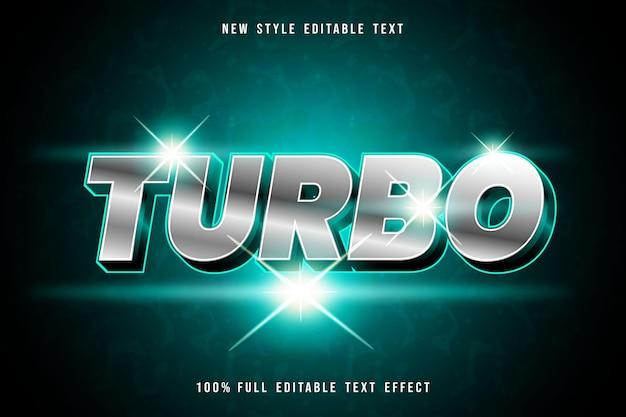 Efeito de texto editável turbo cor prata e verde