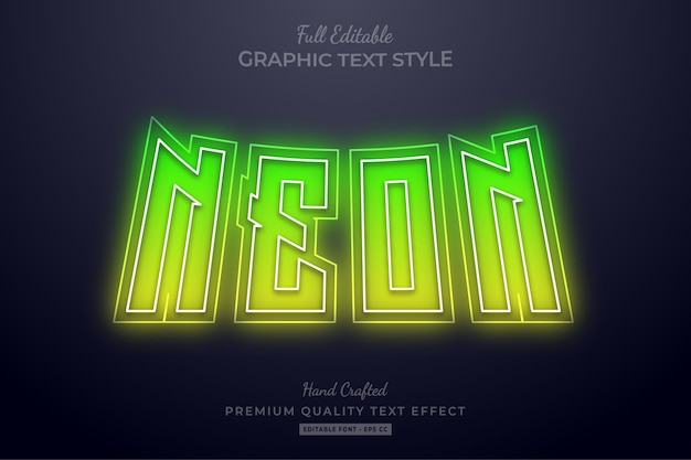 Efeito de texto editável verde amarelo neon