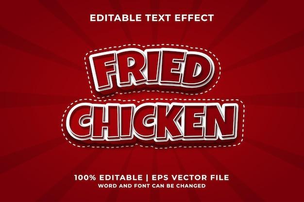 Efeito de texto editável - vetor premium de estilo de modelo 3d de frango frito