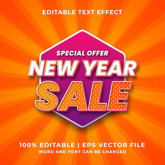 Efeito de texto editável - vetor premium de estilo de modelo de venda de ano novo