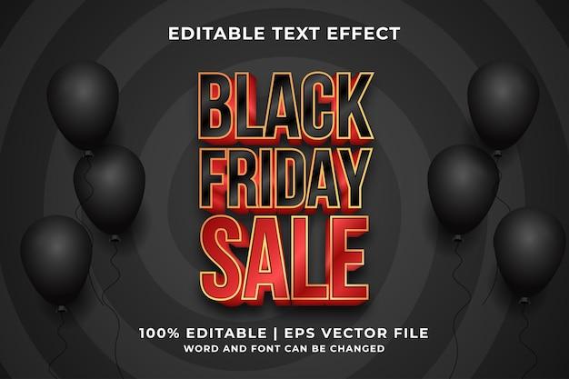 Efeito de texto editável - vetor premium de estilo de modelo de venda de black friday