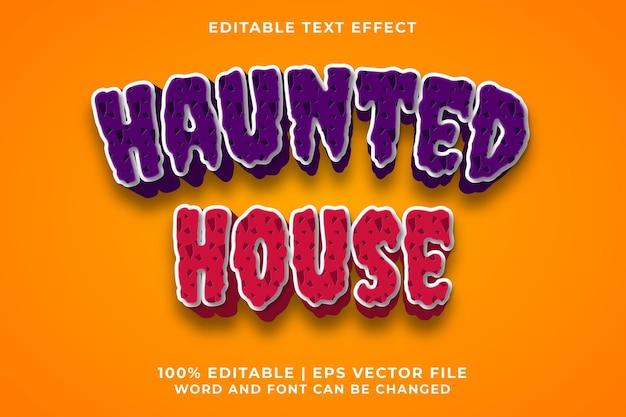 Efeito de texto editável - vetor premium de estilo de modelo haunted house