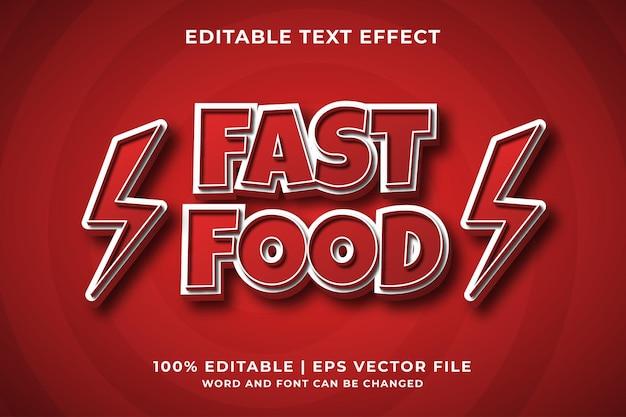 Efeito de texto editável - vetor premium estilo modelo 3d fast food