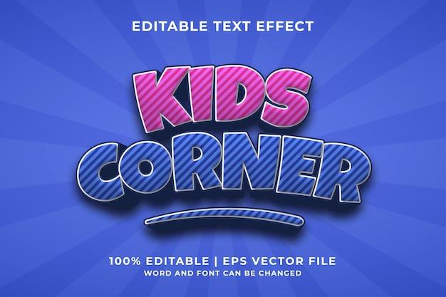 Efeito de texto editável - vetor premium modelo estilo kids corner