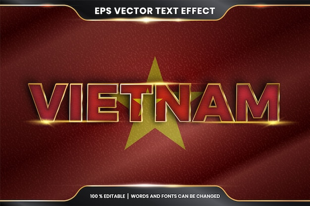 Efeito de texto editável - vietnã com sua bandeira do país nacional