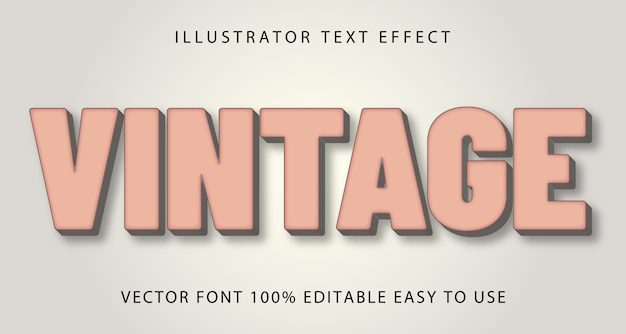 Efeito de texto editável vintage