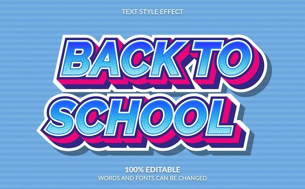 Efeito de texto editável, volta às aulas com estilo cômico