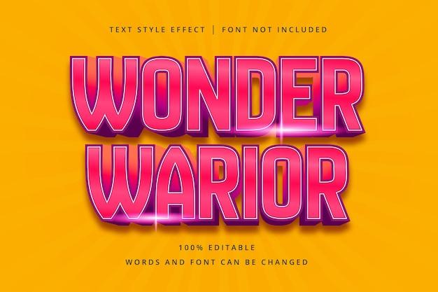 Efeito de texto editável wonder warior