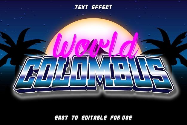 Efeito de texto editável world columbus em relevo estilo retro