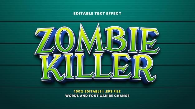 Efeito de texto editável zombie killer em estilo 3d moderno
