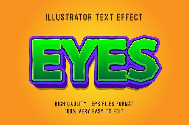 Efeito de texto editável, zoom 3d verde dos desenhos animados
