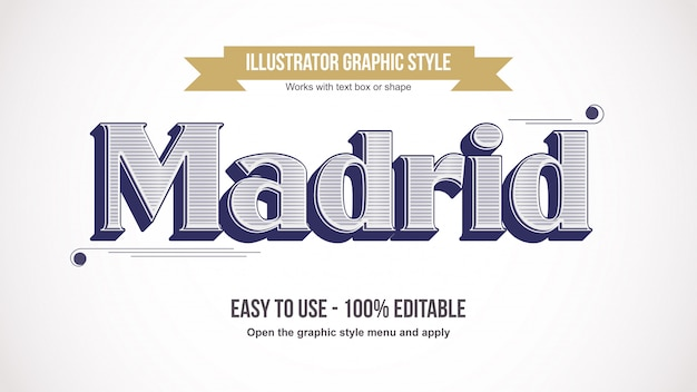 Efeito de texto elegante vintage linha patter serif Vetor Premium