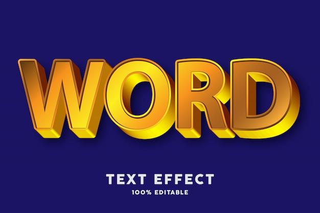 Efeito de texto em 3d ouro forte estilo bold
