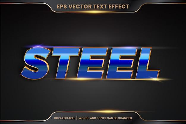 Efeito de texto em 3d palavras de aço tema de efeito de texto metal editável ouro realista e conceito de cor azul gradiente