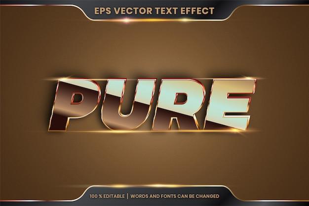 Efeito de texto em 3d pure words font styles theme editável metal gradiente ouro e conceito de cor bronze