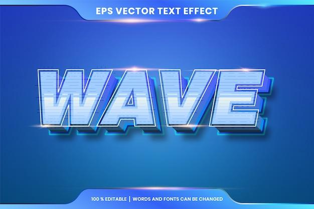 Efeito de texto em 3d wave palavras estilos de fonte tema editável gradiente azul cor conceito