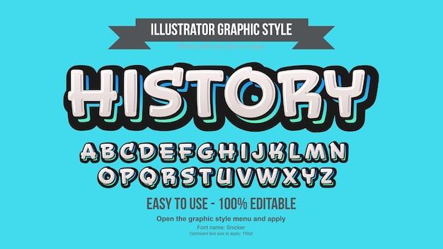 Efeito de texto em autocolante 3d moderno branco e azul ousado de desenho animado