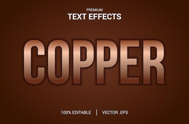 Efeito de texto em cobre, conjunto efeito de texto em cobre abstrato elegante, efeito de fonte editável em estilo de texto em cobre