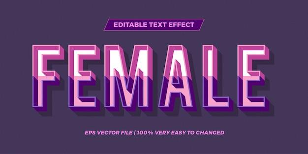 Efeito de texto em cor pastel palavras femininas texto efeito tema retro conceito editável