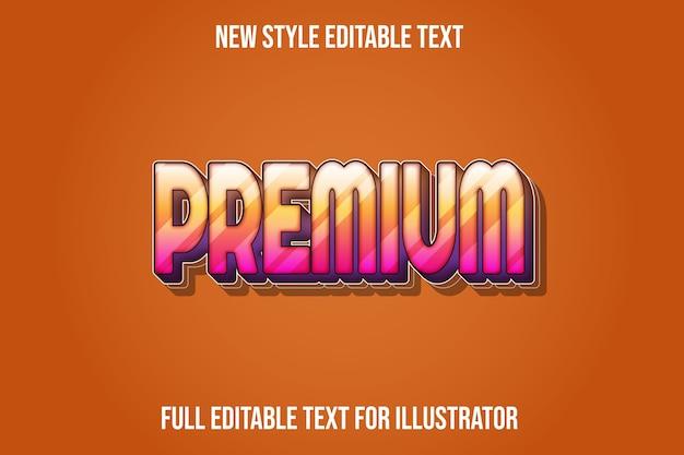 Efeito de texto em cor premium laranja claro e gradiente rosa