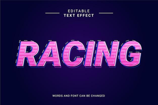Efeito de texto em corrida de corrida com linha e gradiente rosa roxo