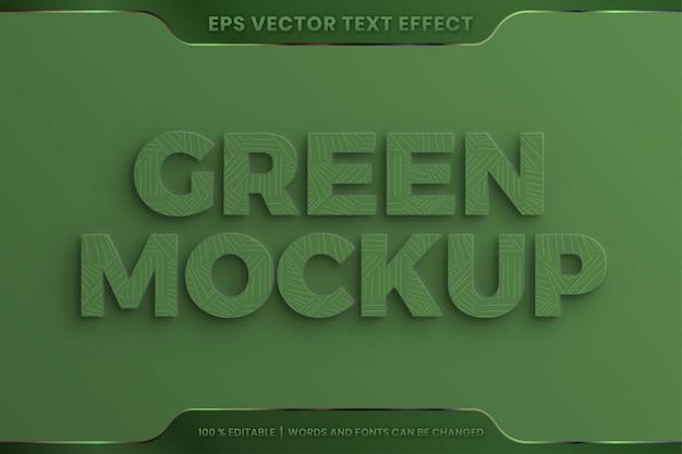 Efeito de texto em estilo de fonte de palavras verdes 3d realistas conceito de textura em relevo editável