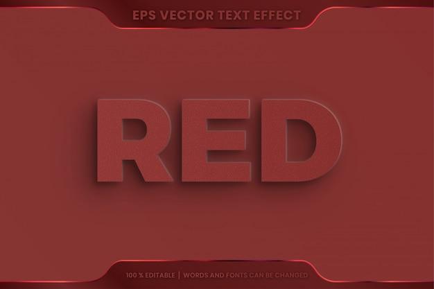 Efeito de texto em estilo de fonte de palavras vermelhas 3d conceito editável em relevo