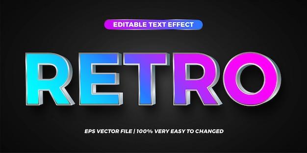 Efeito de texto em gradiente retrô palavras texto efeito tema editável metal prata conceito cor