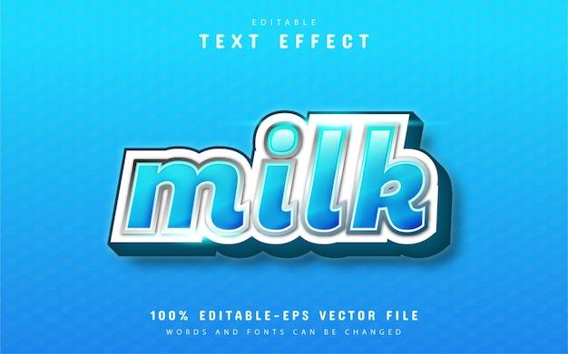 Efeito de texto em leite com gradiente de azul