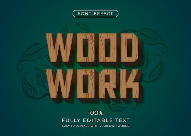 Efeito de texto em madeira. estilo de fonte editável